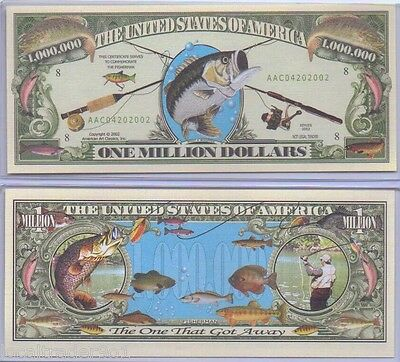 Commemorative US Fishing Bill with Protector Bass Trout Boating $1 Million