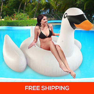 Giant Swan Inflatable Water Toys Ride-on Pool Float Ring Raft Swimming Party Fun