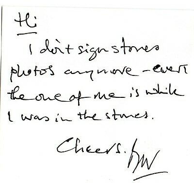 Authentic Bill Wyman Signed Hand Written Note..amazing Stones Rarity..must Read
