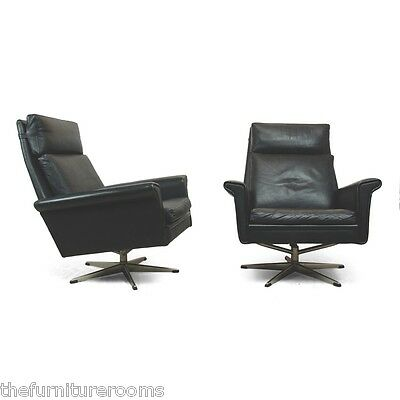 Pair of Black Leather Swivel Chairs Danish c1960