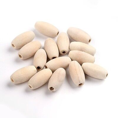 50PCS Natural Wood Beads Lead Free Oval Moccasin Jewelry Making 20x10mm Hole 3mm