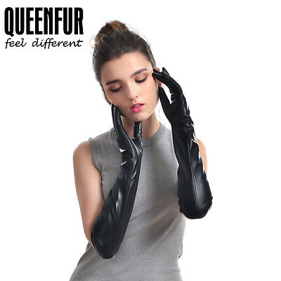Queenfur Women Winter Real Leather Gloves Evening Party Long Sheepskin Gloves