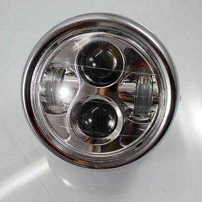 Motorcycle LED Projector Chrome Daymaker Headlight For Cafe Racer Touring Bobber