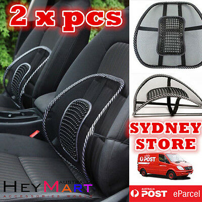 2x Mesh Lumbar Back Support Cushion Seat Posture Corrector Car Office Chair Home