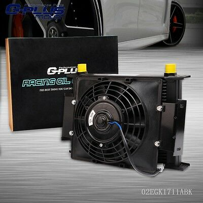 "UK 28 Row 10AN Universal Engine Transmission Oil Cooler+7"" Electric Cooling Fan"