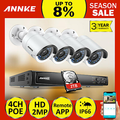 ANNKE 4CH 6MP NVR 4x 1080P Security Camera System Network POE Video Alert 2TB HD
