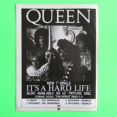 Queen - It's A Hard Life - Vintage Magazine Poster Advert (A4 Size)