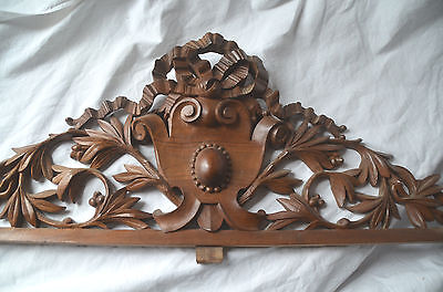 Antique French solid carved wooden pediment or fronton
