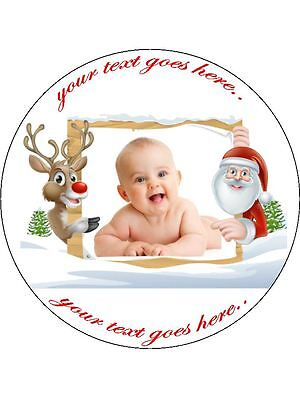 "Personal Photo Message Edible Icing Christmas Cake Topper 7.5"" Round"