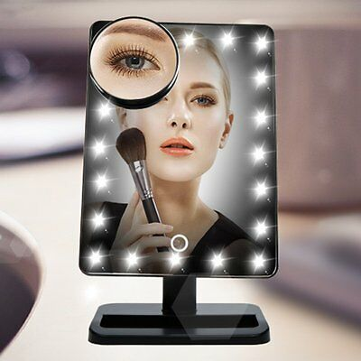 20LED Adjustable Tabletop Lighted Cosmetic Vanity Makeup Mirror 10X Magnifier