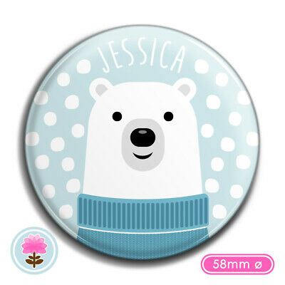PERSONALISED POLAR BEAR (58 mm Ø) POCKET MIRROR Christmas Stocking Filler/Gift
