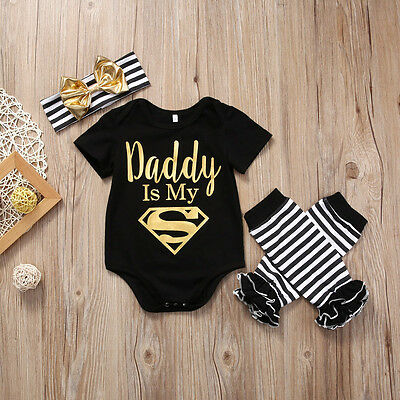 3Pcs Newborn Toddler Baby Girls Boy Tops Romper+Leg Warmer Headband Outfit Set