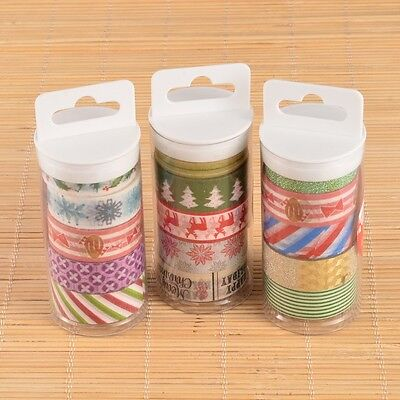 5PCS Christmas Theme DIY Decorative Single-Sided Adhesive Tapes Mixed Color