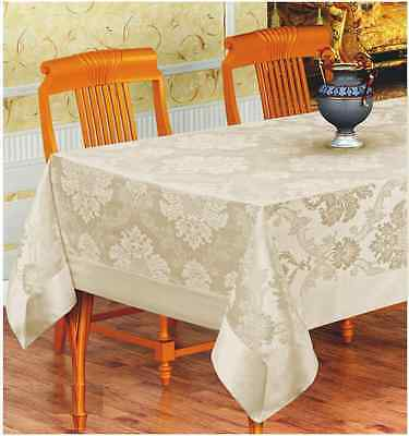 """Extra Large Quality Poly Cotton Tablecloth 160 x 260CM (63"""" x 102"""") Seats 10"""