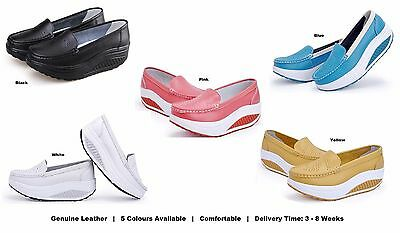 Womens Ladies Girls Genuine Leather Platform Slip On Nursing Nurses Work Shoes