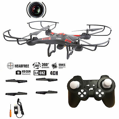 Explorer 6-Axis Quadcopter Drone HD Camera RC Drone Helicopter 360° Flip Gift UK