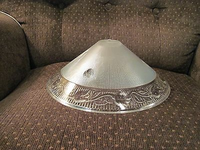 Clear 30's Art Deco Ceiling light fixture Glass lamp shade Chandelier 3 Hole