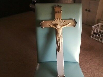 Antique Jp Foley Holy Cross Crucifix  Illinois Religious Wall Ornate Details