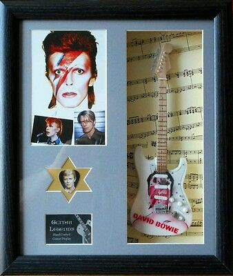 David Bowie Framed Miniature Tribute Guitar with Plectrum