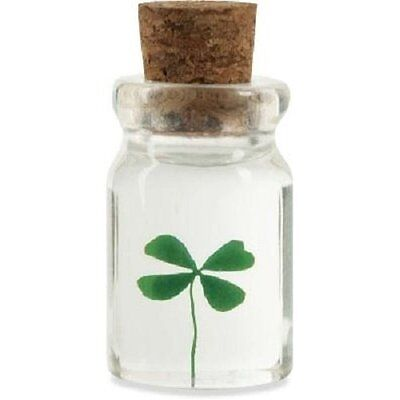 "SHAMROCK ""BOTTLE O' LUCK""  GENUINE 4-Leaf-Clover! - NEW (16731)"
