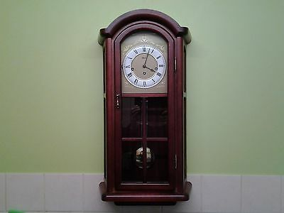 "STUNNING ""HERMLE"" MAHOGANY PENDULUM / REGULATOR WALL CLOCK ( westminster chimes)"
