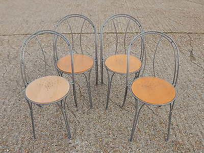 4 modern wrought iron stacking bistro style dining chairs with solid beech seats