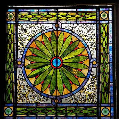 Great Victorian Sunflower Pattern Antique Stained Glass Window