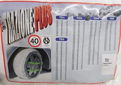 Trazione Plus Pair Of Snow Socks T03 For Wheels 225 x 45 x 17 and More see below
