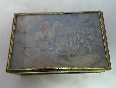 Antique Brass Matchbox Sleeve Hunting Picture
