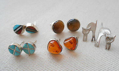 Five Pairs of  Sterling Silver Mixed Stone Earrings   290009