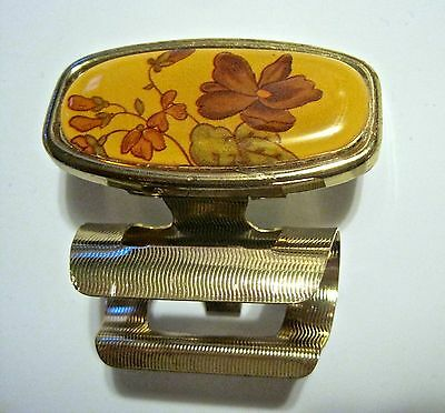Vintage Lipstick Holder with Flip Up Mirror Floral Motif Lipstick Case Compact