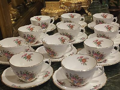 "11 COALPORT BONE CHINA  ""Fragrance"" SCALLOP EDGE CUP AND SAUCERS FLORAL"