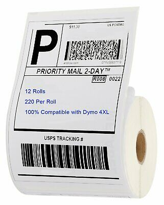 12 Rolls 220/Roll Direct Thermal Shipping Labels 4x6 Compatible 1744907 Dymo 4XL