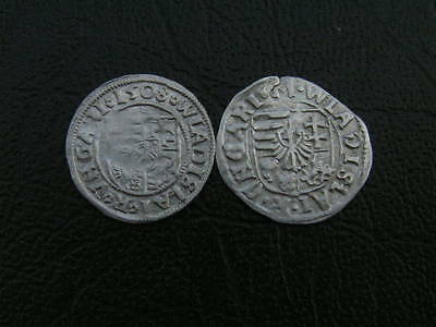 2 x Madonna with Baby Jesus, medieval hammered silver coin No.:55