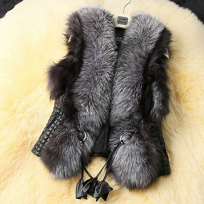 Fashion Winter Women warm Faux Fur Gilet Sleeveless Vest Waistcoat Jacket Coats