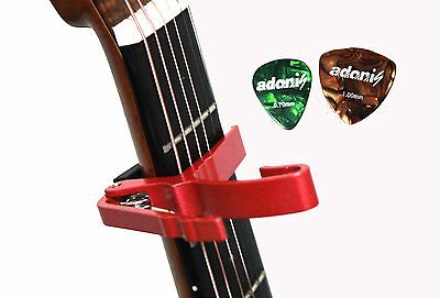 Capo with 2 Picks for Acoustic Electric Guitar Red Shipping from Toronto,Canada