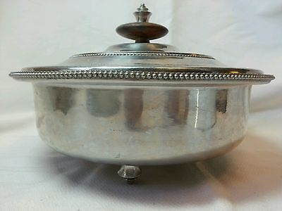 Vintage 1940's B. W. Buenilum Aluminum Serving Dish with Lid and Feet