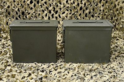 ( 2 PACK ) TALL .50 Cal PA 19 AMMO CAN VERY GOOD CONDITION  * FREE SHIPPING *
