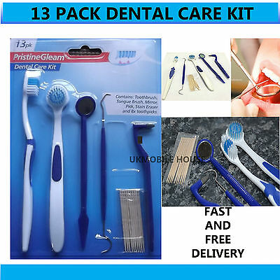 13 Pack Dental Care Kit Tooth Tongue Mirror Stain Tartar Calculus Plaque Remover