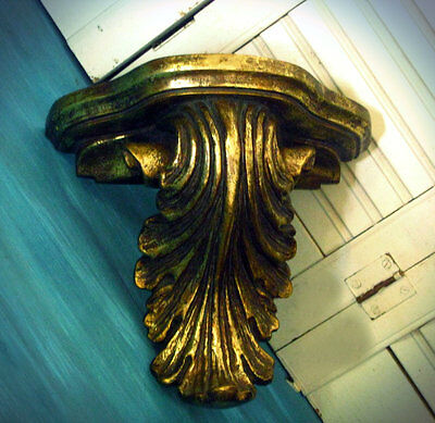 Gold Leaf Wall Shelf Acanthus Leaf Plaster Corbel Sconce Bracket Home Decor