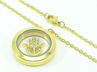 Stainless Steel Gold-Tone Chain Link Necklace Pendant Charm Hamsa Hand Locket