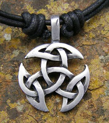 Pewter Celtic Knot  Pendant NEW on Cord Necklace Pagan Celt Wicca New Age