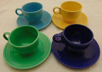Fiesta Fiestaware Lot TeaCups and Saucers Yellow/Green/Turquoise/Cobalt Vinta...