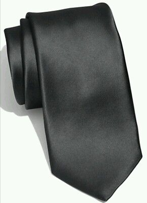 Classic black satin tie for kids boy toddler or baby