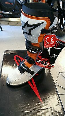 NEW! Alpinestars Tech 8 Light White/Orange/Black  Adult US Size 8