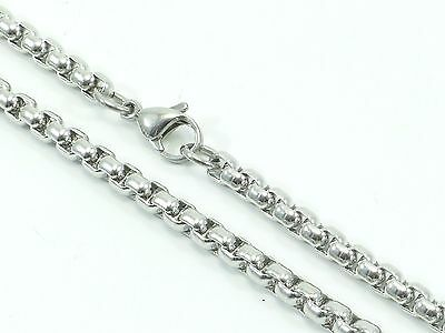 "Mens Womens Necklace Link Chain Rolo Stainless Steel 316L 30"" 4mm 38g Unisex"