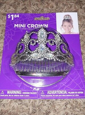 """Girl's Silver Mini Dress Up Crown With Clear """"Stones"""""""
