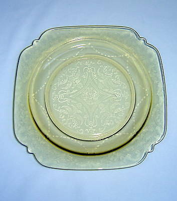 """Madrid Amber Depression Glass Square 8-7/8"""" Luncheon Plate ~ Federal Glass Co."""
