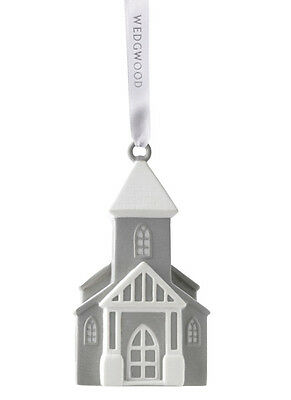 Wedgwood Christmas Figural Church Porcelain Ornament  grey 2016 NEW