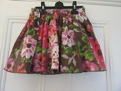 9-10 yrs - Pretty summer skirt - Brown + pink flowers - Cotton'Lined - NEXT
